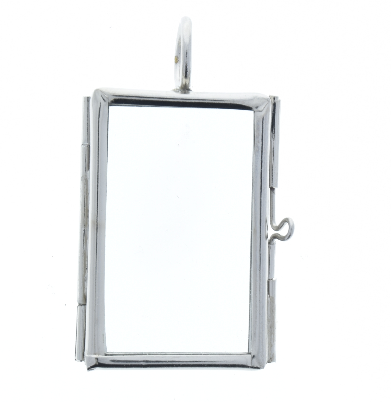 Rectangle silver glass frame pendants hinged locket rectangle silver our glass frame pendants 6 pack aloadofball Gallery
