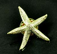 Starfish Pin lapel pin , Bright Gold, pk 6