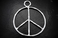 1.5in Hammered Silvertone Peace Sign Pendant, 2 pack