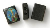 12x15mm Rectangular Wooden Rosary Beads, Jesus, Sold by Dozen