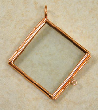Our Glass Frame Locket, Diagonal Square, Copper, pack of 6