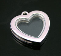 27mm Heart Frame Photo Charm, Silver tone, pack of 2