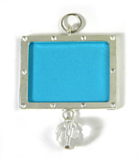1 3/4 inch Photo Frame Pendant, Silvertone, each