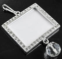 2-Sided Pendant Silver Frame w/3mm Clear Austrian Crystals, ea