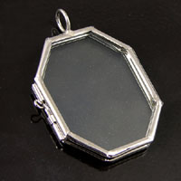2.5x1.7in Octagon(Horcrux), Antiqued Silver-PKG/6