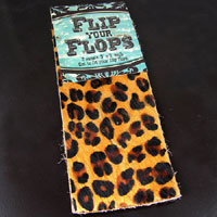 3x7in Brown Leopard Hair on Hide, cuff leather strips, pack of 2