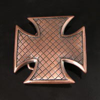 2.75 inch Grid Iron Cross Belt Buckle, Antique Copper, each