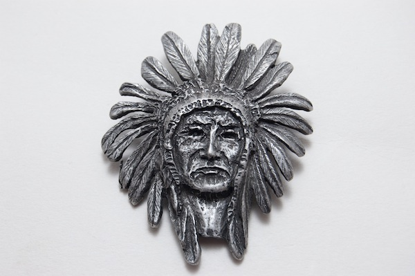Indian Head Chief Pendant, Vintage Silver, 1 each
