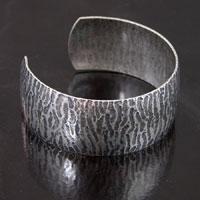 1 inch Zebra Textured Cuff Bracelet, Antique Classic Silver, ea