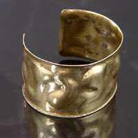 1.5 inch Hammered Textured Adjustable Cuff Bracelet Blank, Antiqued Gold, ea