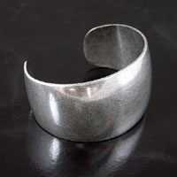 Smooth Heavier Adjustable Cuff Bracelet Blank, Classic Silver