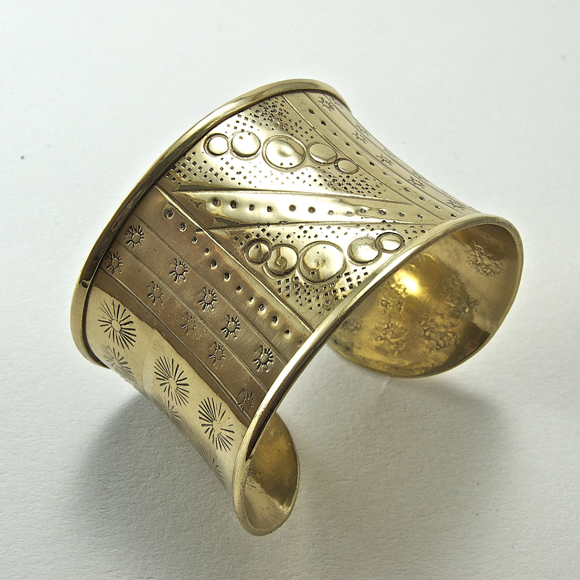 46mm Wide Polished Etched Stamped Brass Cuff, 1 each