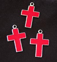 Red Cross Enamel Charm, pack of 6