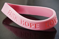 Prayer Wristband Bracelet -Faith-Hope-Love- Pink, pack of 12