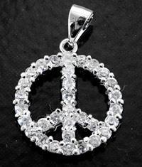 3/4in(17mm) Peace Symbol Pendant silvertone w/Austrian Crystals, pkg/2