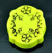 1.75x2in(46x52mm) Retro Scrolled Bakelite  Yellow Pendant, ea