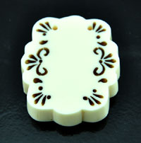 2.06 inch Carved Bakelite Cream White Pendant, each