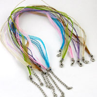 16in Waxed Cord-n-Organza Ribbon Necklace, Assort.Colors - Choker, w/3in extender, pk/6