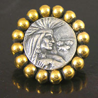 35mm Indian Silver-n-Gold Round Beaded Vintage Button, ea