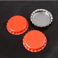 Texas Orange Blank Bottle-caps,- pk/12