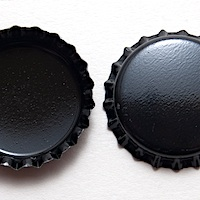 "1"" Black Bottle Cap, 2 sided, pack of 12"
