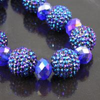 22mm Crystal Sapphire Blue Crystal Shamballa Pave' Beads, 14 beads per strand