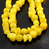 15mm Yellow(Jelly Beans) Candy Jade Nuggets, 36 inch strand