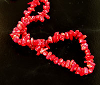 10mm Red Coral Seed Nugget Beads, 16 inch strand