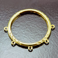 1.62in Gold Napkin Ring Finding, w/5 loops, pack of 4