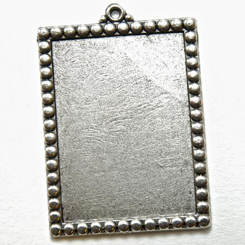 38mm NEW Medium Rectangle Bead Edge Pendant Base, Antique Silver  6 piece pack