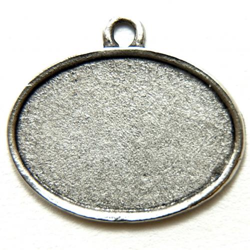 25mm Small Oval Smooth Edge Pendant Base, Antique Silver, 6 piece pack