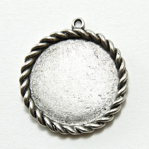 35mm NEW Round Circle Rope Edge Pendant Base, Antique Silver, -6 piece pack