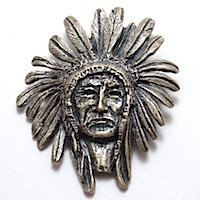 Indian Chief Head Pendant, Antique Gold, 1 each