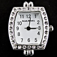 Crystal Embellished Flat End Oval Geneva Watch Face with Loops for Beading