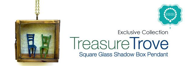 Square Brass finish Our Glass Shadow Box Pendant/Locket